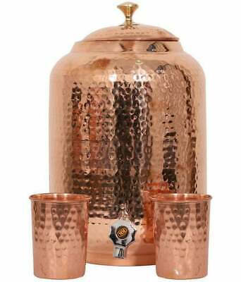 Pure Copper Hammered Water Dispenser Storage Tank with Tap Water Pot UK Seller