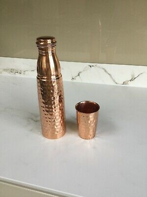 Pure copper Hammered Water Bottle Flask With Integrated Glass- UK Seller