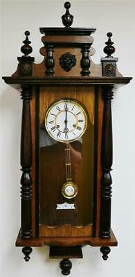 Vintage Franz Hermle German 8 Day Striking 2 Tone Walnut Vienna Wall Clock