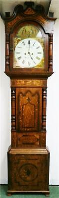 Stunning Antique 19thC English 8 Day Oak & Mahogany Grandfather Longcase Clock