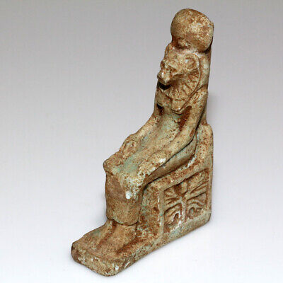 Intact Egyptian Blue Faience Sekhmet Seated On Throne Statue Circa 1900-1000 Bc