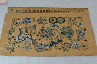 appliqués Chinese blue gold sewing lot old never used antique original rare
