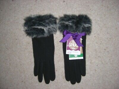 Lovely New Ladies Boots Totes - Gloves - Black/Grey Faux Fur - One Size M/L Bnwt