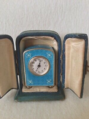 Antique Guilloche Enamel Carriage Clock