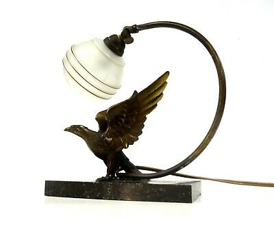 Very Rare Art Deco Eagle Metal Cast Table Lamp On Marble Bied Animal Antique