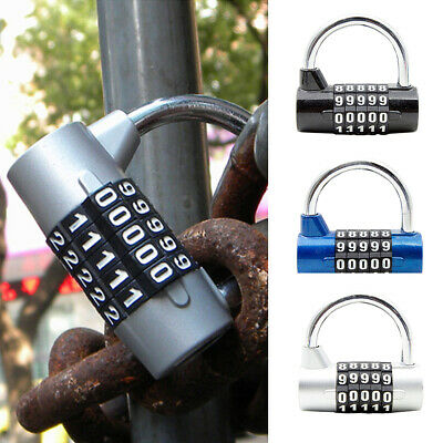 5 Digit Password Resettable Combination Padlock Coded For Gym Locker Sheds