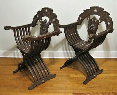 Gorgeous Pair of INLAID & CARVED MIDDLE EASTERN Chairs  c. 1900  antique