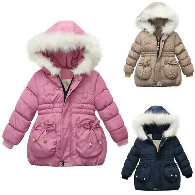 Toddler Kids Girl Winter Coat Jacket Zip Thick Warm Solid Hoodie Outerwear Cloak