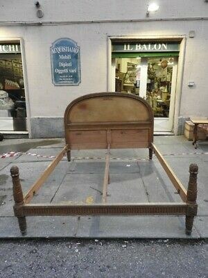 Antique Double Bed Style Louis XVI Lacquered Golden Period Xx Century