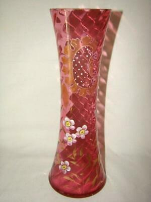"Antique Bohemian Czech Glass CRANBERRY 12"" Enameled APPLE BLOSSOM Vase"