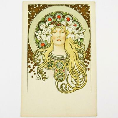 Antique Czech Art Nouveau Artist Alphonse Mucha Sarah Bernhardt French Postcard