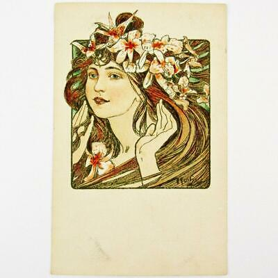 Antique Czech Art Nouveau Artist Alphonse Mucha Cocorico Cover French Postcard