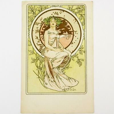 Antique Czech Art Nouveau Artist Alphonse Mucha Banquet Menu French Postcard