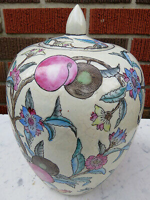 """Vintage Chinese Decorative Hand Painted Porcelain Pottery Ginger Jar W/ Lid 10"""""""