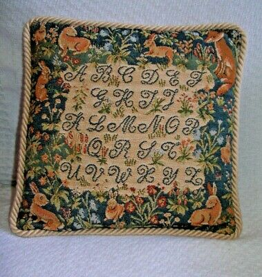 "Tapestry Alphabet, Bunnies & a Fox - Green & Tan Pillow 9"" square"
