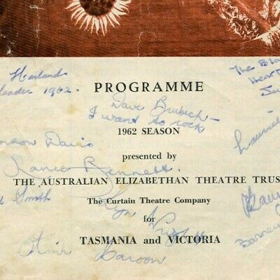 Young Elizabethan Players Victoria programme autographed 1962 Dave Brubeck