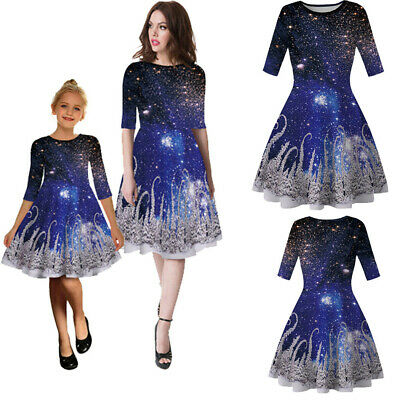 Family Clothes Mom Baby Girls Half Sleeve Print Christmas Party Swing Dress MI