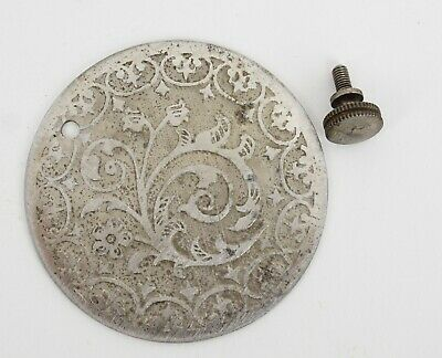 Antique Singer Model 27 Treadle Sewing Machine Ornate Floral Round Cover Plate
