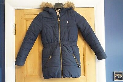 Joules Girls Navy Blue Padded Quilted Winter Merrydale Coat Fur 9 - 10 Years
