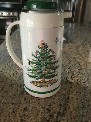 Spode Christmas Tree Thermal Carafe Thermos Pot Serve Coffee Tea Hot Water GUC