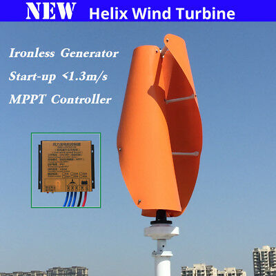 400W Helix Magnetic Levitation Axis Vertical Wind Turbine Generator MPPT 12V