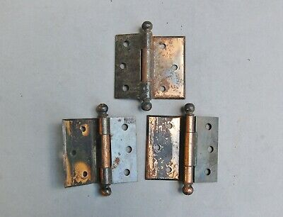 "Arts Crafts Mission Salvaged Door Hinge Lot 3 Copper Plated 3"" x 3 1/2"" Hardware"