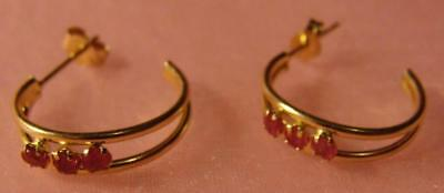 14k Solid Gold Dainty Ruby Earrings DAINTY 14 Karat Gold Hoops With Rubies CHILD