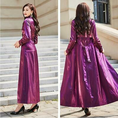 Women Shiny Belted Double Breasted Trench Coat Outwear Evening Overcoat Long Bel