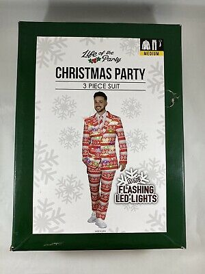 Life of the Party Men's Christmas Holiday 3 Piece Suit Flashing LED Lights - Med