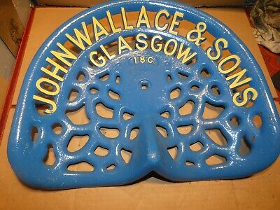 John Wallace  Vintage Cast Iron Tractor Implement Seat Xmas Present Nameplate