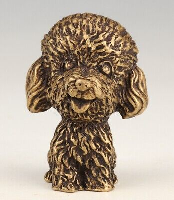 Unique Chinese Brass Statue Hand-Carved Dog Mascot Gift Collection