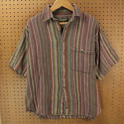 Timberland shirt XL thick boho woven blanket stripes hippie ikat vtg 90s 00s