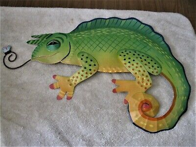 "Metal Wall Art STUNNING Large IGUANA Catching a Fly Stunning & Beautiful 19"" WOW"