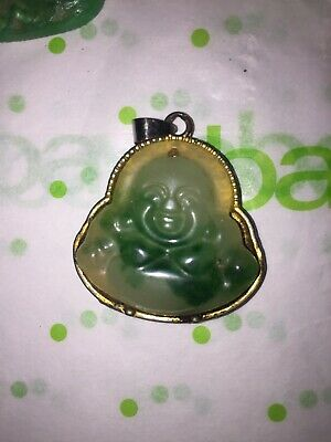 Antique Vintage Old Jade Buddha Pendant Added To Gold Mount 2 Carved Statues