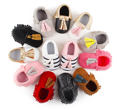 Newborn Baby Cute Tassel Soft Sole Suede Shoes Toddler Boy Girl Moccasin Shoes