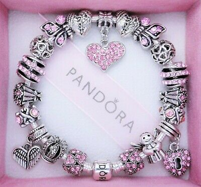 Authentic Pandora Charm Bracelet Silver with PINK ANGEL LOVE European Charms
