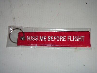 Kiss Me Before Flight Luggage TagKeyringEmbroideredFree UK Delivery