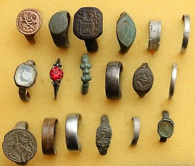 Job Lot Of 18 Authentic Bronze And Silver Rings