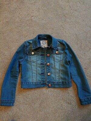 Girls Tu Blue Denim Jacket Age 7-8 Yrs Vgc