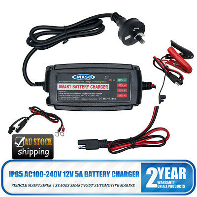 Battery Charger Maintainer Trickle 12V 5A Car Automatic Motorcycle Waterproof AU