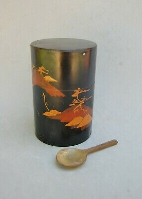 Japan Tea Canister Tin Box & Carved Horn Spoon Antique Vintage Caddy Mt Fugi
