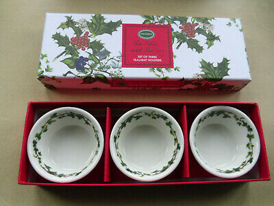 Portmeirion Christmas The Holly And The Ivy Set Of 3 Tealight Holders New In Box