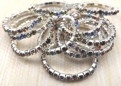 10 x Multi Colour Flexi Rings Wholesale Joblot Jewellery Christmas Xmas ++