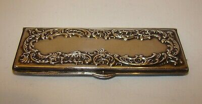 "Antique  Sterling Silver calling card Case Thin 3.75+ "" long"