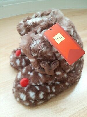 Girls Marks and Spencer Christmas reindeer slippers size 12 bnwt