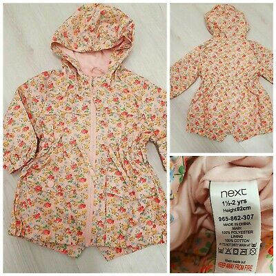 Next Girls Raincoat 1.5 to 2 Years Lightweight Jacket With Hood Cotton Lining