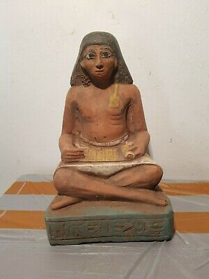 Rare Antique Ancient Egyptian Scribe sitting Open Papyrus Hiroglyphic1870-1790BC