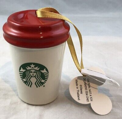 Disney Parks Starbucks Coffee Cup WDW Tree Ornament Christmas Holiday - NEW