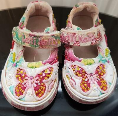 Girls Pink/White, Butterfly, Beaded Lelli Kelly Shoes/Trainers Size 2 Eur 19