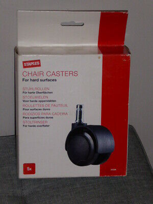 Staples Set of 5 Soft Wheels Chair Casters for Hard Surfaces & Chairmats NEW